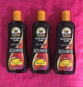 Australian Gold DARK TANNING ACCELERATOR Tanning Lotion 8.5oz 3 BOTTLES