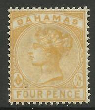 BAHAMAS 1884 4d QUEEN VICTORIA YELLOW MINT NO GUM