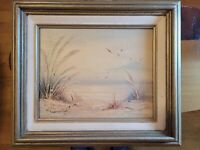 Original Signed Oil Painting on Wood Panel Used Sea View and Birds