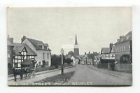 Weobley - Broad Street (middle) - houses, horse carriage - old postcard