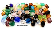 75 Presiosa 6mm Assorted Color Mix Faceted Fire Polished Glass Tube Barrel Beads