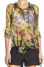 "NWT $800 ISABEL MARANT ""Rodd"" Blouse SZ 36 Floral Silk Chiffon Top Black Yellow"