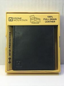Stone Mountain Mens Passcase Leather Traveller Wallet RFID Protected (Black)