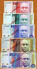 Specimen Set, Cape Verde, 100;200;500;1000;2500 1989 P-57s-58s-59s-60s-61s Unc