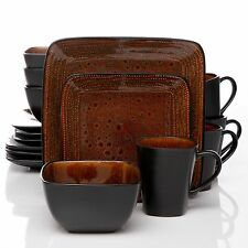 Gibson Atlas Autumn Amber 16 Piece Square Dinnerware Dish Set Black & Brown