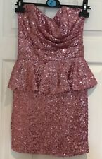 TFNC LONDON LADIES PINK SEQUIN STRAPLESS DRESS SIZE XS