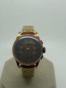 Vintage 18k rose gold swiss chronograph wrist watch 17 jewel not running