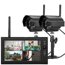 """Funk Außen 2 Überwachungskamera System Set mit 7"""" LCD 4-Kanal Video Monitor DVR"""