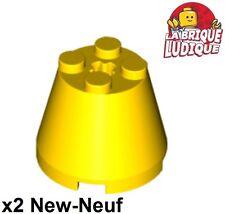 Lego - 2x Cone 3x3x2 axle hole axe jaune/yellow 6233 NEUF