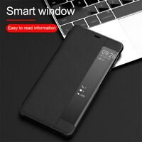 Leather Phone Case for Huawei Samsung Window View Smart Flip Cases Stand Cover
