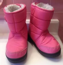 Kamik Lunar Girl's Boots Winter Snow Pink Faux Fur Lining On Off Size 4