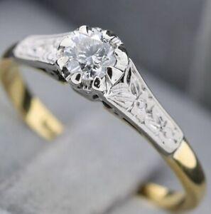 18 Kt Gold, Platin Ring Mit 0,25 Ct Diamant
