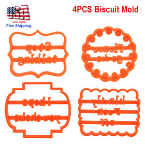 4x Cookie Molds with Good Wishes Alphabet for Cookie Baking Biscuit Cutter Mould