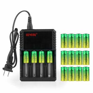 SkyWolfEye 16340 Battery 3.7V 1800mAh Li-Ion Rechargeable CR123A Charger USA Lot