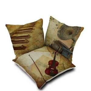 Music Themed Cushion Pillow Case Cover with Music Notes and Piano Various Patter