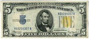 1934-A $5 One Dollar Silver Certificate North Africa Yellow Seal Note - JM226