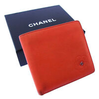 Chanel Wallet Purse Bifold Camellia Pink Silver Woman Authentic Used Y2077