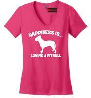 Happiness Loving A Pitbull Ladies VNeck T Shirt Bully Pitt Lover Dog Gift Tee Z5