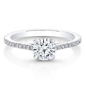 0.71 Carat Round Cut Diamond 14K Solid White Gold Engagement Rings Size M N J K