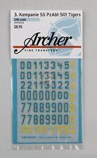 Archer 1/48 3./s.SS-Pz.Abt.501 Turret Markings (Tiger II) (Blue/Yellow) AR49026