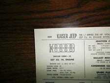 1967 Kaiser Jeep Series J Models 232 CI L6 SUN Tune Up Chart Great Condition!