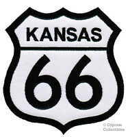 KANSAS ROUTE 66 EMBROIDERED PATCH - IRON-ON APPLIQUE Highway Road Sign Biker
