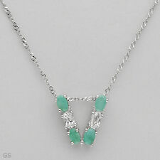 Emerald &Topaz 925 Sterling silver Initial V letter necklace W/1.30ctw Genuine