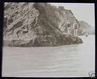 Glass Magic lantern slide NEWQUAY C1920 ENGLAND CORNWALL L66  SEASIDE