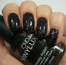 CND VINYLUX Starstruck Weekly Nail Polish DARK DIAMONDS Black w/ Silver Glitter!