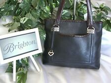 BRIGHTON Black Pebbled Leather w/Brown Embossed CrocTrim Tote ~ 2 outer pockets