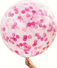 Jumbo Giant Clear Balloon Confetti Pink White 90cm Birthday Party Baby Shower