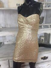 NEW~TFNC London Sophie Sequin Gold Dress, Juniors SZ M Cocktail, Formal, Party