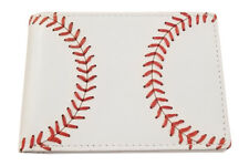 Youth White Bi-fold Wallet w/ Baseball Seam Stitch by BallPark Leather