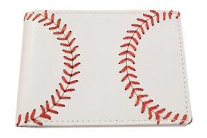 Youth White Bi-fold Wallet w/ Baseball Seam Stitch by BallPark Leather