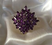 4.5 Ct, AA, Lusaka Amethyst Ring, Cluster, Platinum On Sterling Silver, Size Q