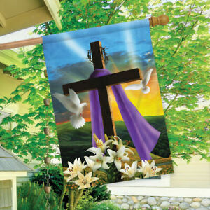 Easter Sunrise Religious House Flag Cross Doves Lilies 29.5 x 39.5 inch