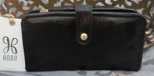 Hobo International ~TORCH Vintage Leather Bifold Clutch Wallet~BLACK~NWT $118