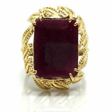 14K Yellow Gold Rectangular/ Emerald Cut Ruby Wide Ring. July Birthstone
