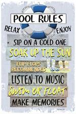 Pool Rules 8x12 Metal Sign - Backyard Sign - Blue - Swimming Pool Sign