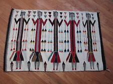 "Native American Navajo Vtg Hand Woven Wool YEI Rug 55"" x 36"" Saddle Blanket"