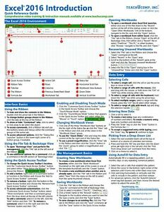 Excel 2016 Training Guide Quick Reference Card 4 Page Cheat Sheet Instructions