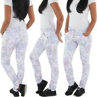 Damen Boyfriend Baggy Armee Camo Army Jeans Hüft Camouflage Cargo Stretch Hose