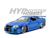 Jada 1:24 Fast And Furious Brians Nissan Skyline Gtr R34 Blue 97217 N/B