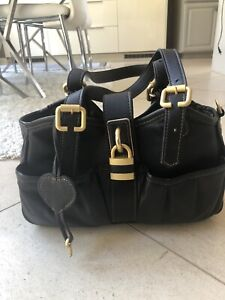Petote Metro Couture All Leather with Gold Lock Dog Carrier, Black, Petite Small