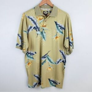 Tommy Bahama Mens Vintage Polo Shirt Leaf Print Small Vacation Island Wear