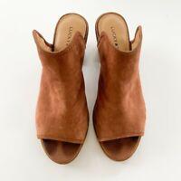 Lucky Brand Baldomero Block Heel Leather Slide Mules, Size 8