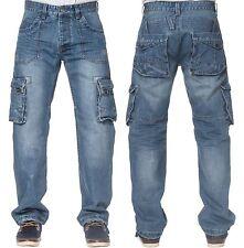 ETO Mens Latest Cargo Combat Stylish Jeans EM570 in Blue Stonewash