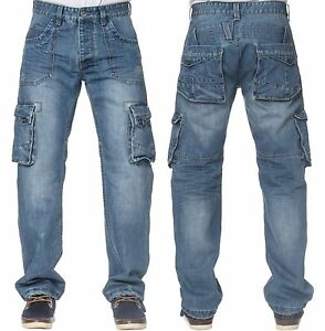 ETO Mens Latest Cargo Combat Stylish Jeans EM570 in Blue Stonewash