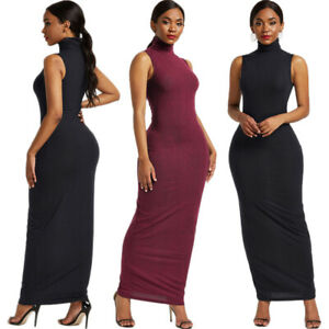 Sleeveless Evening Party Stretch Bodycon Long Maxi Dress Cocktail Clubwear Women
