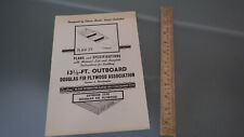 Vtg 1950s Wood Boat Mail-Away Plans 13.5' Outboard Douglas Fir Plywood Assoc.